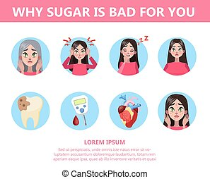 you., mucho, azúcar, malo, infographic, por qué
