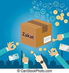 Zakat dando dinero al pobre concepto del Islam de caridad de impuestos religiosos