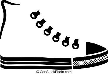 zapatilla, lona, vector, zapato negro, icono