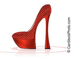 Zapato blanco y rojo