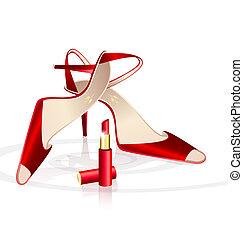 Zapatos de mujer roja con lápiz de labios