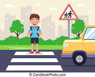zebra, colegial, cruces, camino, crossing.