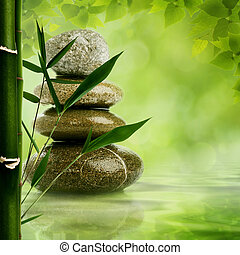 zen fondo natural con hojas de bambú y guijarros para tu diseño