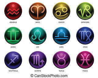 zodíaco, brillante, señales