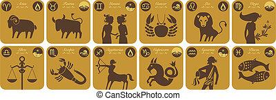 zodíaco, moderno, señales