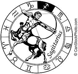 zodíaco, negro, blanco, sagitario