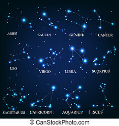 zodíaco, vector, ilustración, señales