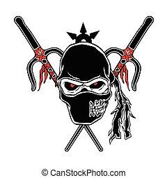 zombi, caricatura, ninja, cara
