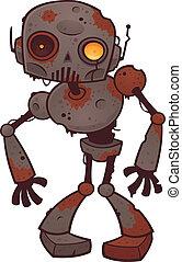 zombi, oxidado, robot