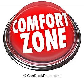 zona, botón, comodidad, seguridad, palabras, seguridad