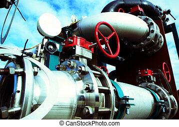 Zona industrial, tuberías de acero, válvulas y bombas