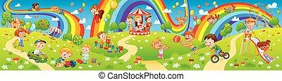 Zona infantil. Paseos divertidos en el parque. Niños jugando en el patio