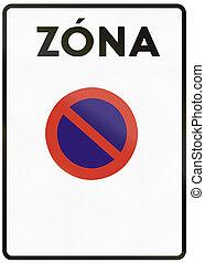 zona, utilizado, zona, no, medios, -, zone., señal, eslovaquia, estacionamiento, camino