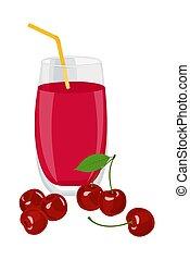 Zumo de cereza. Un vaso de jugo de cereza y cerezas. Ilustración de vectores sobre fondo blanco